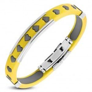 Šperky eshop - Gumený náramok žltej farby - srdiečkové výrezy, sivá výplň, oceľová známka SP07.10