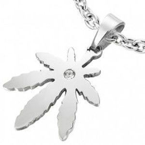 Šperky eshop - Hladký oceľový prívesok - list konope so zirkónom AA27.17