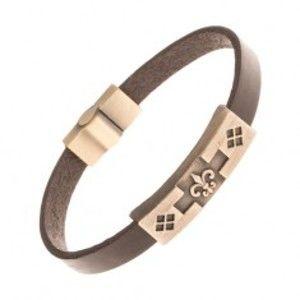 Šperky eshop - Hnedý kožený náramok, patinovaná známka mosadznej farby, Fleur de lis Y17.05