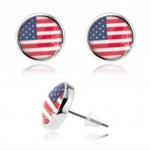 Šperky eshop - Kabošon náušnice, vypuklá glazúra, motív americkej vlajky SP70.17