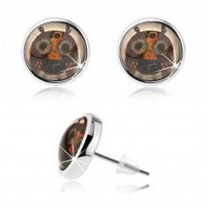 Šperky eshop - Kabošon puzetové náušnice, číre sklo, pestrofarebná sovička s veľkými očami SP69.26