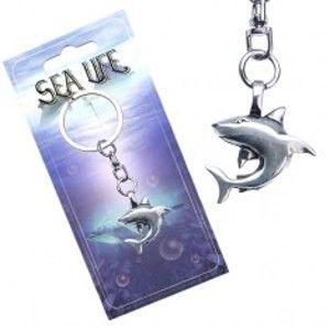 Šperky eshop - Kľúčenka – kovový prívesok, lesklý žralok  AA48.20