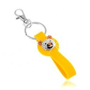 Šperky eshop - Kľúčenka striebornej farby, žltý prívesok zo silikónu, ligotavá hlava medvedíka SP65.11