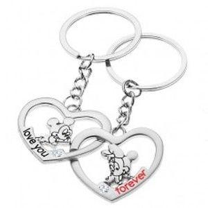 Šperky eshop - Kľúčenky pre dvojicu - Mickey a Minnie v srdciach S27.29