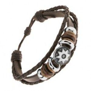 Šperky eshop - Kožený multináramok, oceľové a drevené korálky, patinovaný kruh, slnko Y46.07