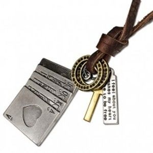 Šperky eshop - Kožený náhrdelník - hracie karty, kríž, obrúčky, známka z kovu AA14.28