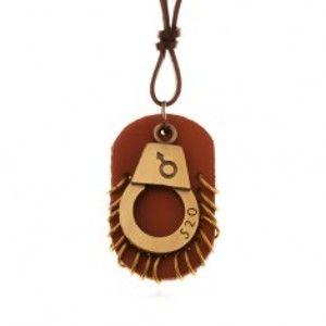 Šperky eshop - Kožený náhrdelník - nastaviteľný, putá s číslom, hnedá známka s kruhmi Z19.01