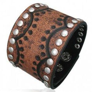 Šperky eshop - Kožený náramok - polmesiace s nitmi, jemná štruktúra T14.5