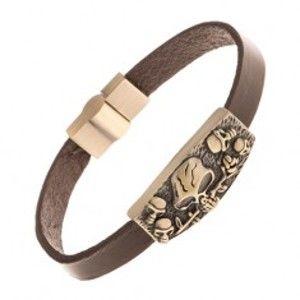 Šperky eshop - Kožený tmavohnedý náramok, známka mosadznej farby - lebky, ruža Y42.03