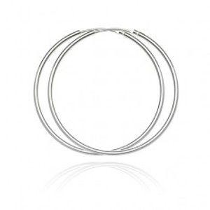Šperky eshop - Kruhové náušnice zo striebra 925 - jednoduchý, hladký dizajn, 45 mm A21.10