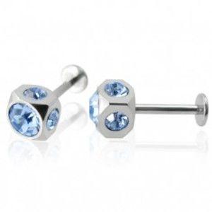 Šperky eshop - Labret z chirurgickej ocele, kocka so vsadenými modrými kamienkami, pár A11.10