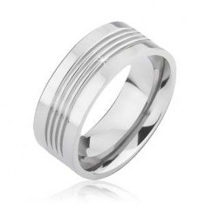 Šperky eshop - Lesklá titánová obrúčka so štyrmi vodorovnými zárezmi BB1.1 - Veľkosť: 60 mm