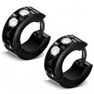 Šperky eshop - Lesklé kĺbové náušnice, chirurgická oceľ, čierny odtieň, číre zirkóny U29.03
