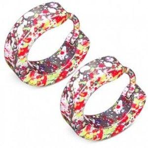Šperky eshop - Lesklé kĺbové náušnice z ocele, fľaky neónovo žltej, ružovej a bielej farby SP47.11