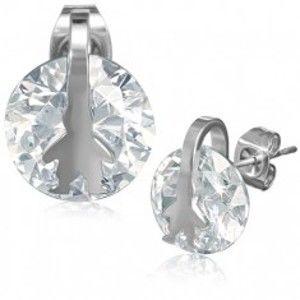 Šperky eshop - Lesklé náušnice z ocele - okrúhly číry zirkón, postava chlapca AA37.13