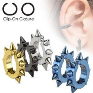 Šperky eshop - Lesklé oceľové náušnice, úplné farebné kruhy s ostňami Z26.10 - Farba: Modrá