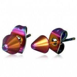 Šperky eshop - Lesklé oceľové náušnice v dúhových farbách, hroty O02.03