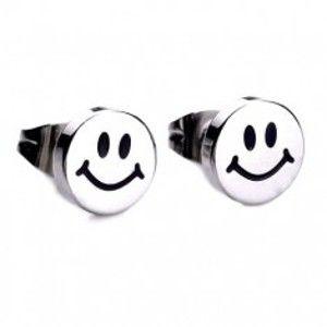 Šperky eshop - Lesklé puzetové náušnice z ocele, strieborná farba, usmievavý smajlík SP51.08