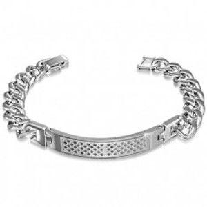 Šperky eshop - Lesklý náramok na ruku z ocele striebornej farby, gravírovaná známka G17.12
