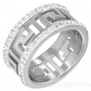 Šperky eshop - Lesklý oceľový prsteň s výrezom - grécky symbol, žiarivé pásy F7.16 - Veľkosť: 59 mm