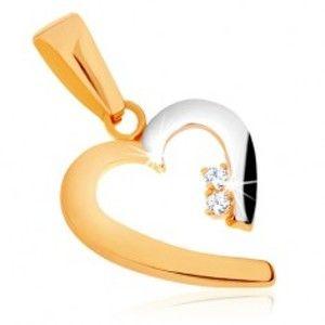 Šperky eshop - Lesklý prívesok v 9K zlate - dvojfarebný obrys neúplného srdca, zirkóny GG70.08