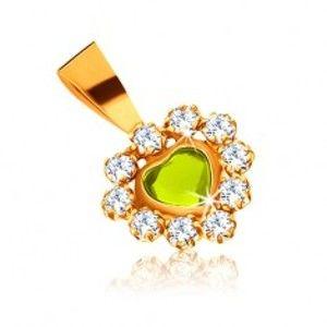 Šperky eshop - Lesklý prívesok zo žltého zlata 375 - svetlozelené srdce a ligotavé číre zirkóny GG54.20