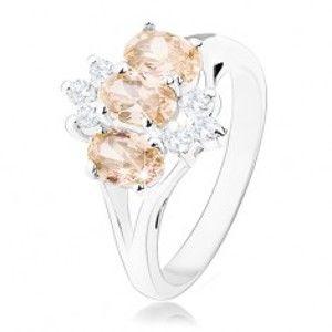 Šperky eshop - Lesklý prsteň v striebornom odtieni, oranžové zirkónové ovály, číre zirkóniky R34.27 - Veľkosť: 60 mm