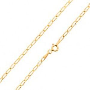 Šperky eshop - Lesklý zlatý náramok 585 - sploštené očká s lúčovitými ryhami, 200 mm GG23.32