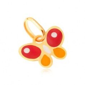 Šperky eshop - Lesklý zlatý prívesok 375 - plochý viacfarebný glazúrovaný motýlik GG06.63