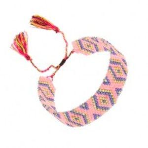 Šperky eshop - Ligotavý náramok, korálky, kosoštvorce, tmavomodrá, žltá, ružová farba U25.14