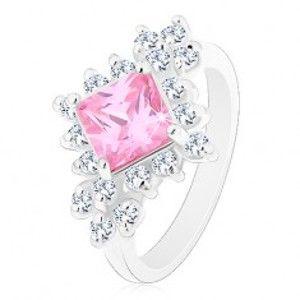 Šperky eshop - Ligotavý prsteň, ružový zirkónový štvorec lemovaný okrúhlymi čírymi zirkónmi R42.20 - Veľkosť: 52 mm