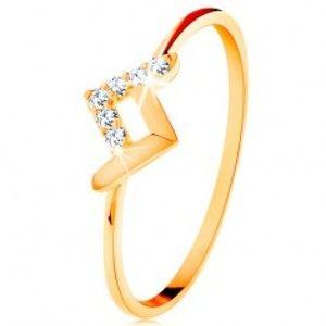 Šperky eshop - Ligotavý prsteň v žltom 14K zlate - lesklý a zirkónový zalomený pásik GG133.01/10/15 - Veľkosť: 49 mm