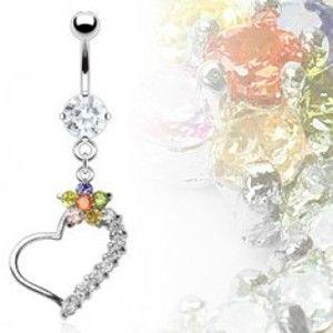 Šperky eshop - Luxusný piercing brucha srdce s farebným kvetom C16.17