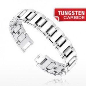 Šperky eshop - Magnetický wolfrámový náramok - široké H články striebornej farby Q8.10