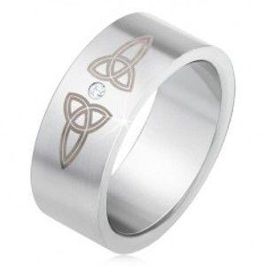 Šperky eshop - Matná rovná obrúčka z ocele 316L, číry kamienok, keltské symboly BB1.18 - Veľkosť: 66 mm