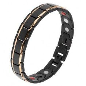 """Šperky eshop - Matný oceľový náramok, čierne """"Y"""" články, lesklé pásy zlatej farby, magnety SP17.25"""