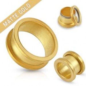 Šperky eshop - Matný tunel zlatej farby do ucha z chirurgickej ocele S50.29 - Hrúbka: 4 mm