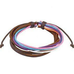 Šperky eshop - Multináramok - farebné šnúrky, tri čokoládovohnedé prúžky kože AA41.08