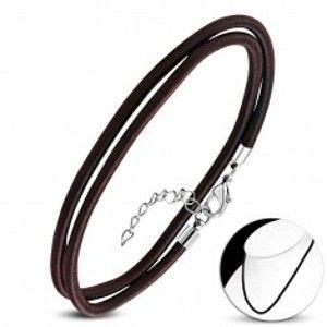 Šperky eshop - Náhrdelník hnedočiernej farby, obtočený lesklou niťou, karabínka AA08.05
