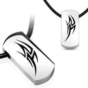 Šperky eshop - Náhrdelník na gumenej šnúrke - oceľový grafický symbol AB6.09