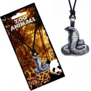 Šperky eshop - Náhrdelník na šnúrke, patinovaný prívesok kobry s ryhovaním S1.11