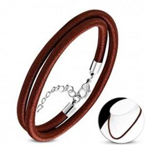 Šperky eshop - Náhrdelník obtočený lesklou niťou čokoládovohnedej farby, karabínka AA05.10