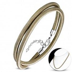 Šperky eshop - Náhrdelník obtočený lesklou niťou zlatohnedej farby, karabínka AA04.10