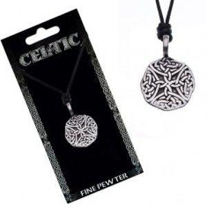 Šperky eshop - Náhrdelník so šnúrkou – čierny, okrúhly prívesok, keltské uzly Y51.12
