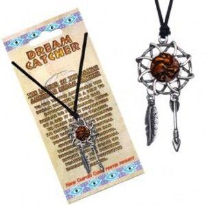 Šperky eshop - Náhrdelník so šnúrkou - lapač snov s tancujúcim indiánom S5.8