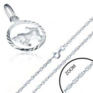 Šperky eshop - Náhrdelník striebro 925 - špirálovitá retiazka, znamenie BÝK AA33.05