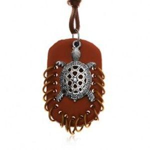 Šperky eshop - Náhrdelník z umelej kože, prívesky - hnedý ovál s krúžkami a korytnačka Y35.09