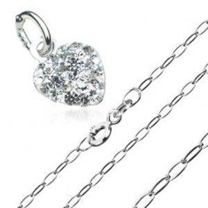 Šperky eshop - Náhrdelník zo striebra 925 - zirkónové srdiečko na retiazke z podlhovastých očiek S62.14