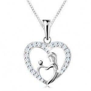 Šperky eshop - Náhrdelník zo striebra 925, retiazka a prívesok - matka s dieťatkom v obryse srdca AC22.30