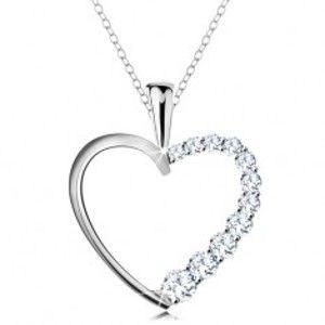 Šperky eshop - Náhrdelník zo striebra 925, srdcová kontúra so zirkónovou polovicou, retiazka AC22.05